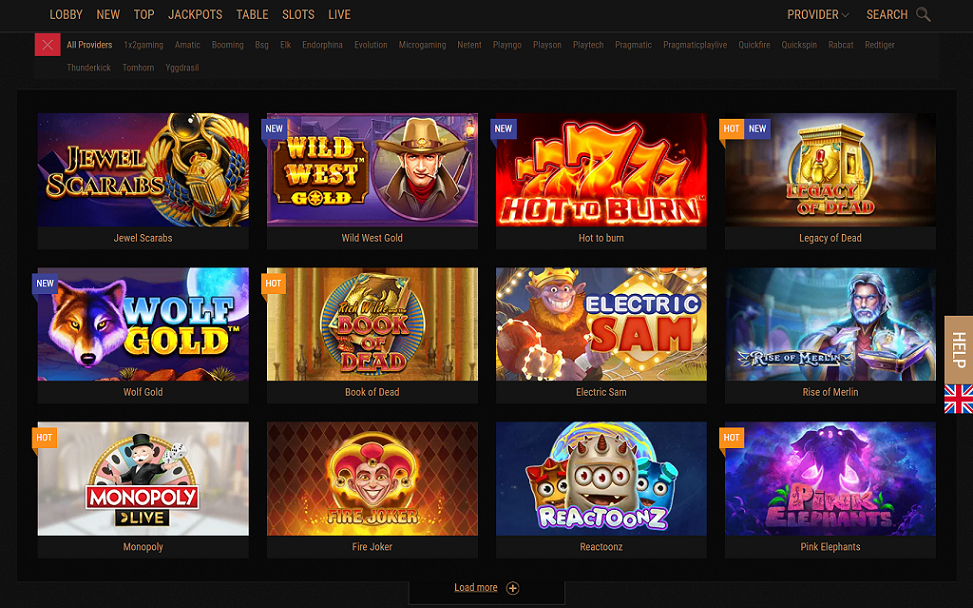 King Billy Casino Lobby Screenshot