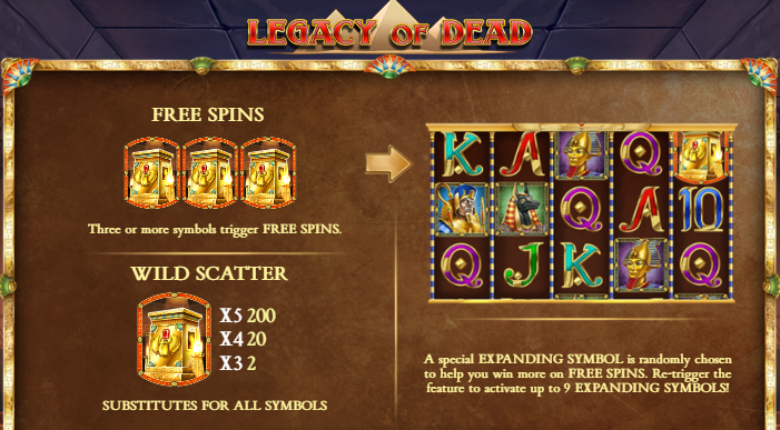 Legacy of Dead Free Spins Info