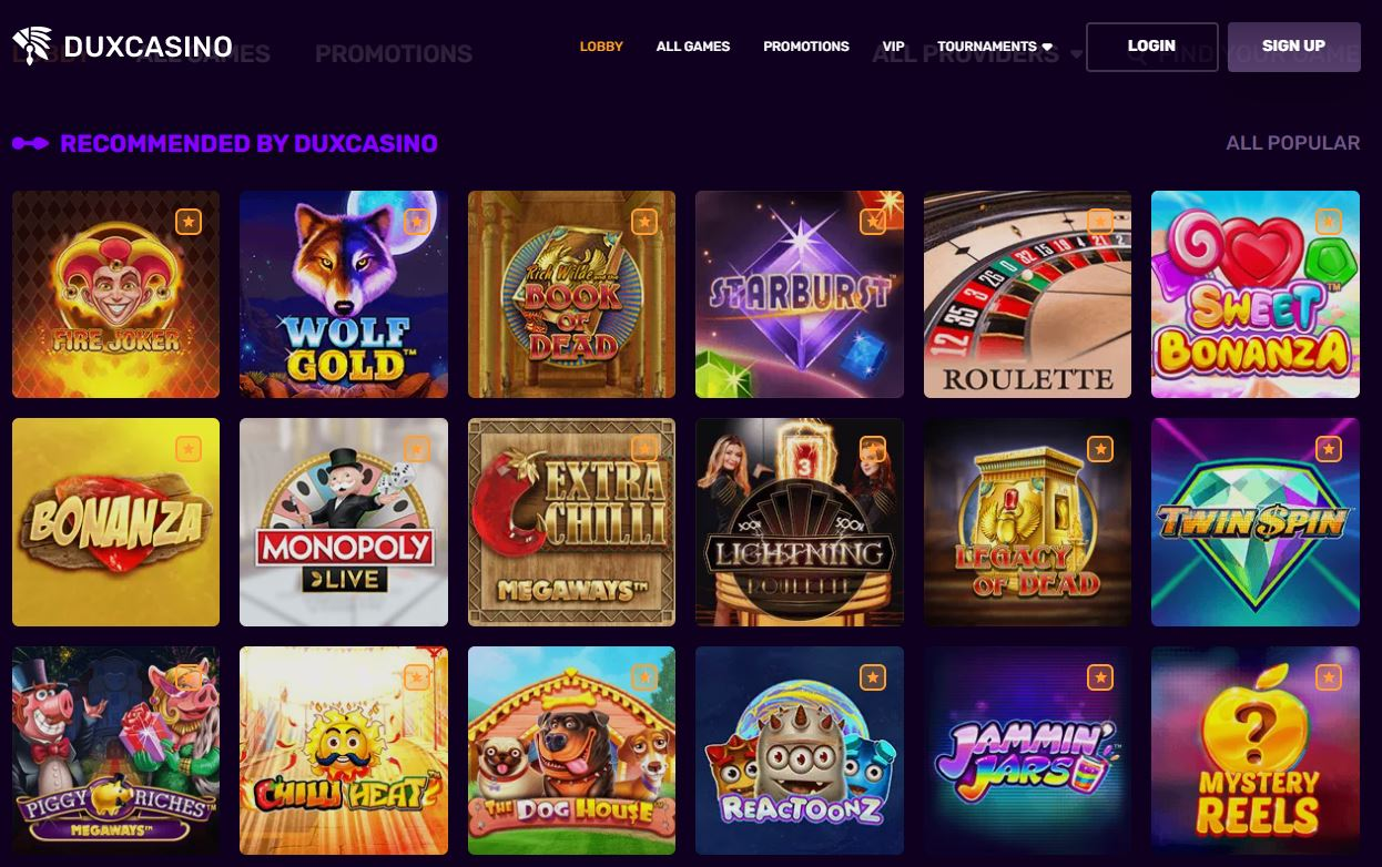 Dux Casino Games Recommended